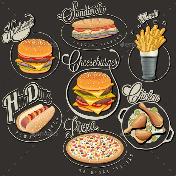 Retro Food Labels  - Food Objects