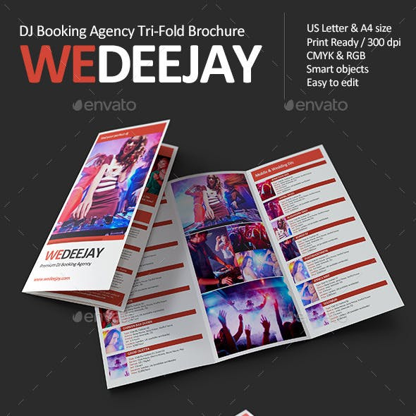 WeDeeJay DJ Booking Agency Tri-Fold Brochure