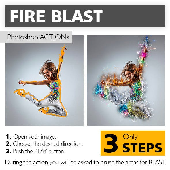 Fire Blast Photoshop Action