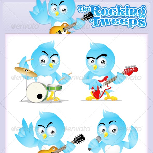 The Rocking Tweeps - Rock & Cool Twitter mascot