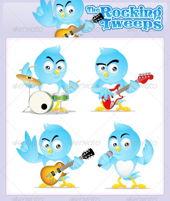 The Rocking Tweeps - Rock & Cool Twitter mascot - Animals Characters