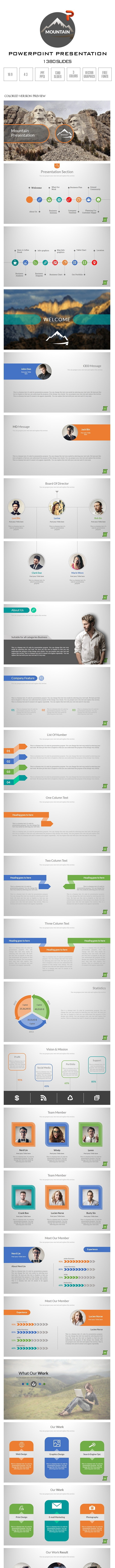 Mountain PowerPoint Presentation Template - Business PowerPoint Templates