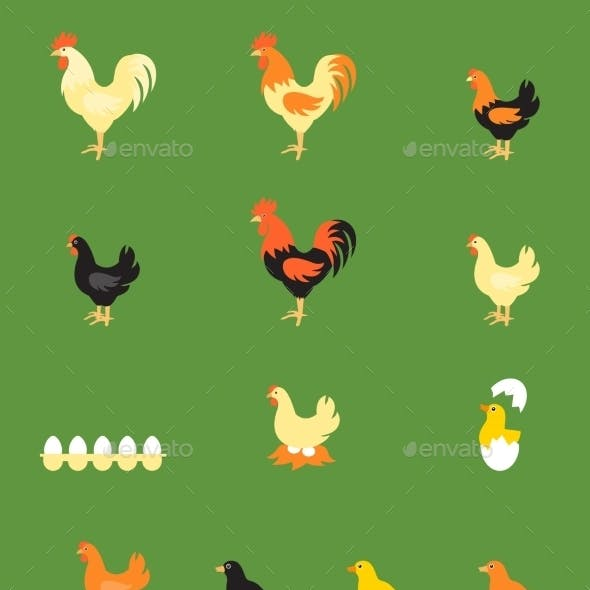 Rooster and Chicken Icons