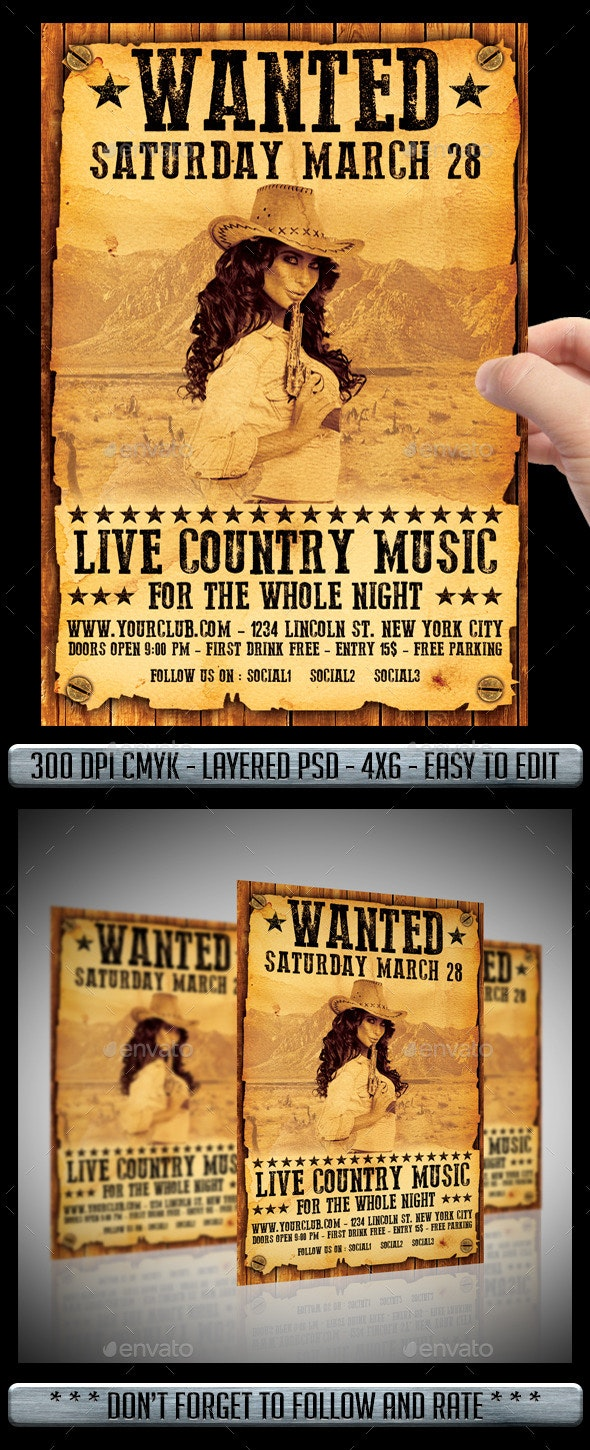 Country / Wanted Flyer - Events Flyers