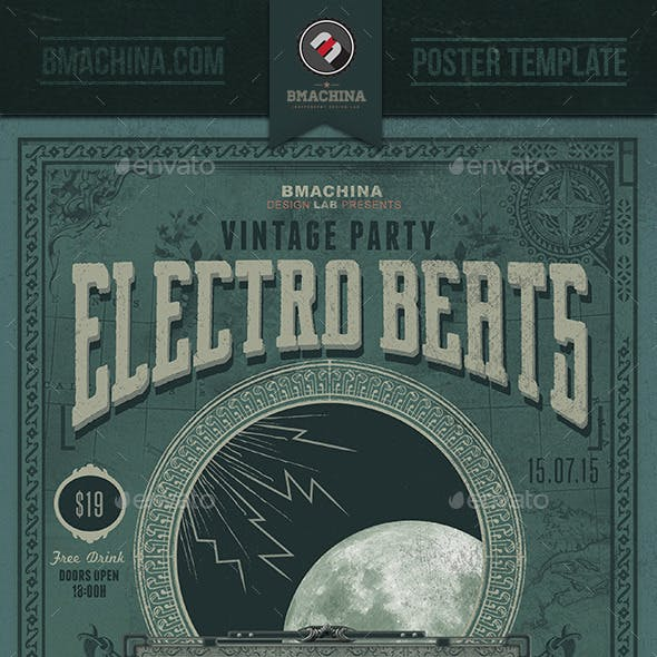 Electro Vintage Beats - Poster Template