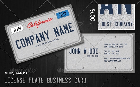 License Plate Business Card - Creative Business Cards