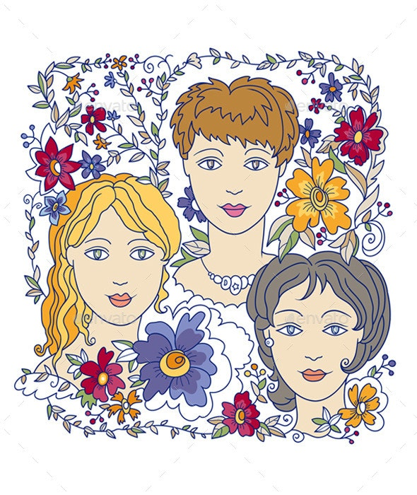 Faces of Three Girls - People Characters