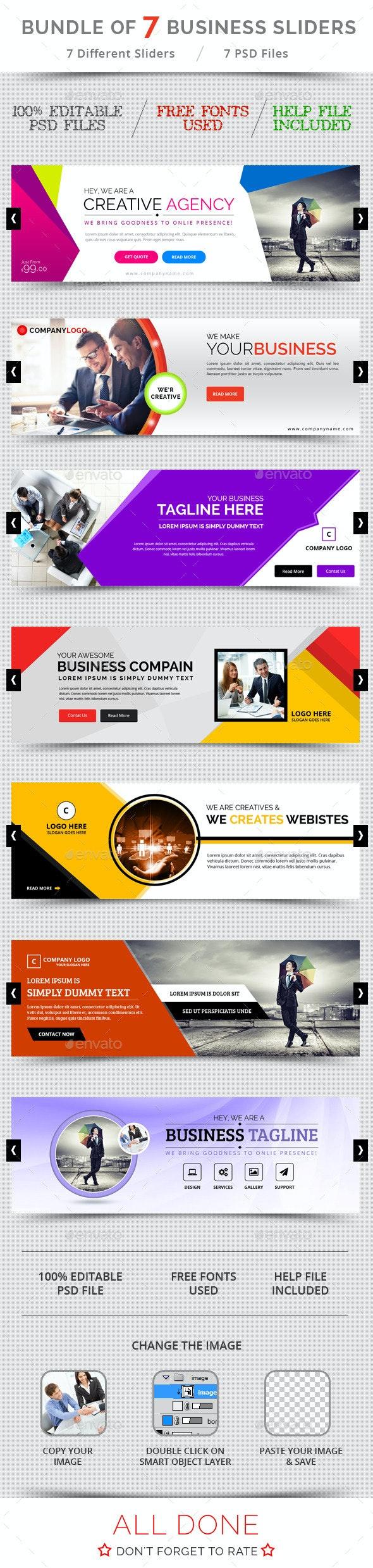Bundle of 7 Business Sliders - Sliders & Features Web Elements