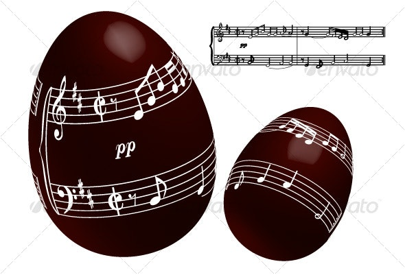 Chocolate Easter Egg with Musical Notes - Miscellaneous Seasons/Holidays