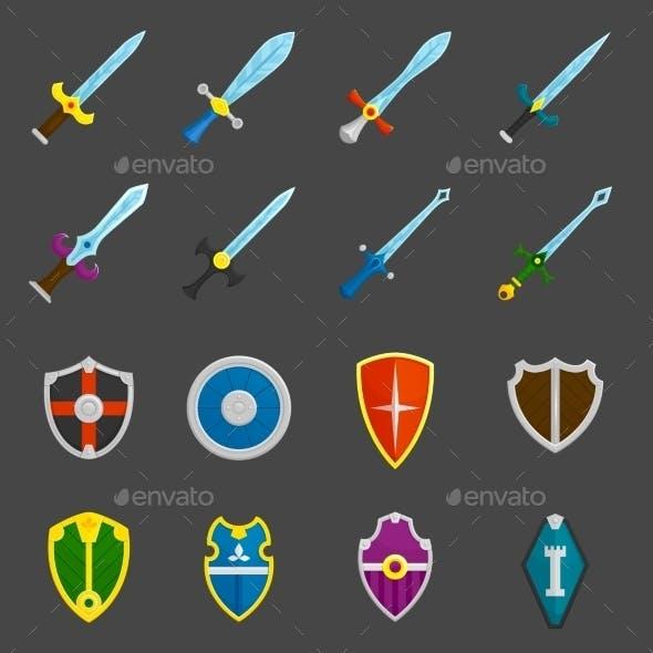 Shield Swords Emblems Icons Set