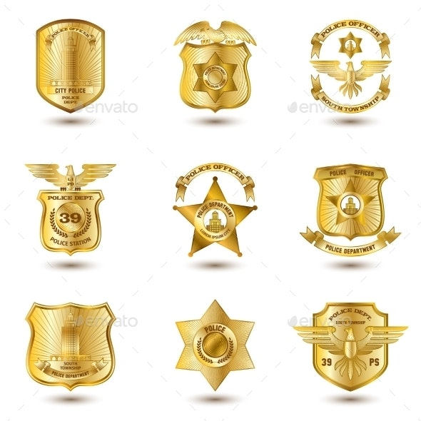 Police Badges Gold - Miscellaneous Vectors