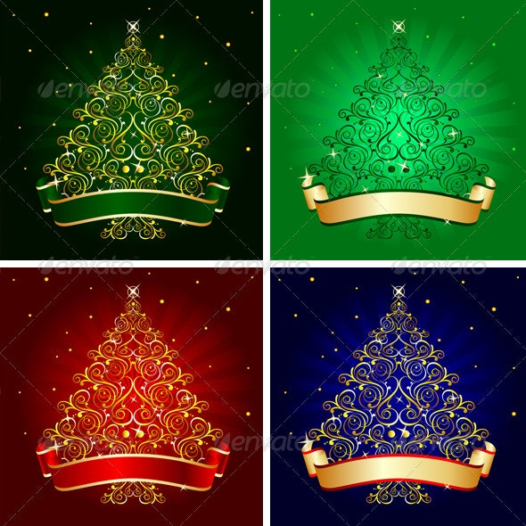 4 Christmas tree vectors - Christmas Seasons/Holidays