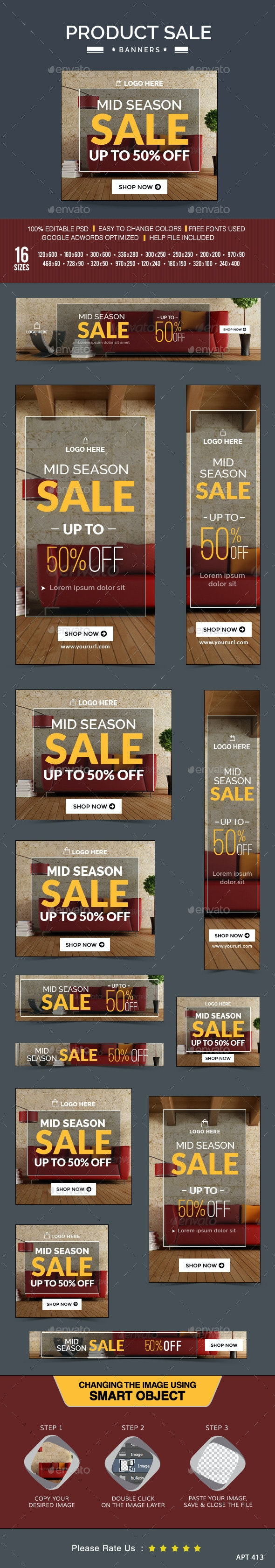 Mid Season Sale Banners - Banners & Ads Web Elements