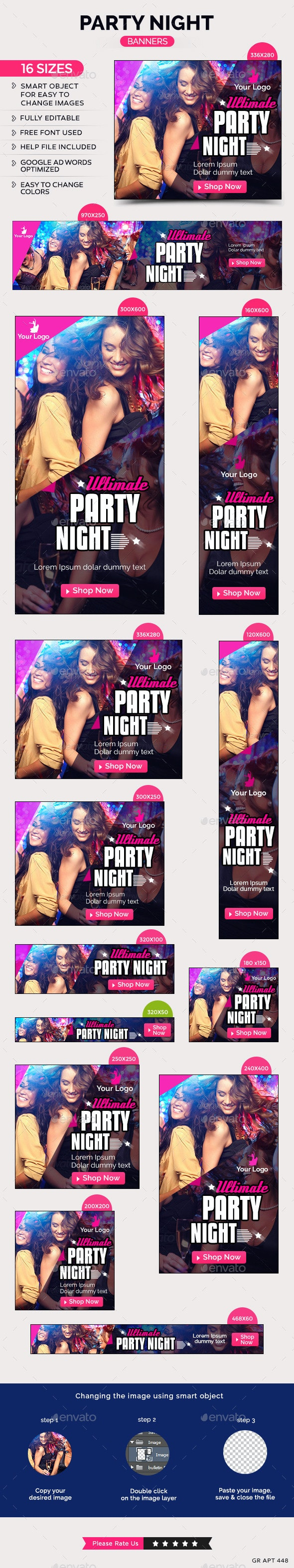 Party Night Banners - Banners & Ads Web Elements
