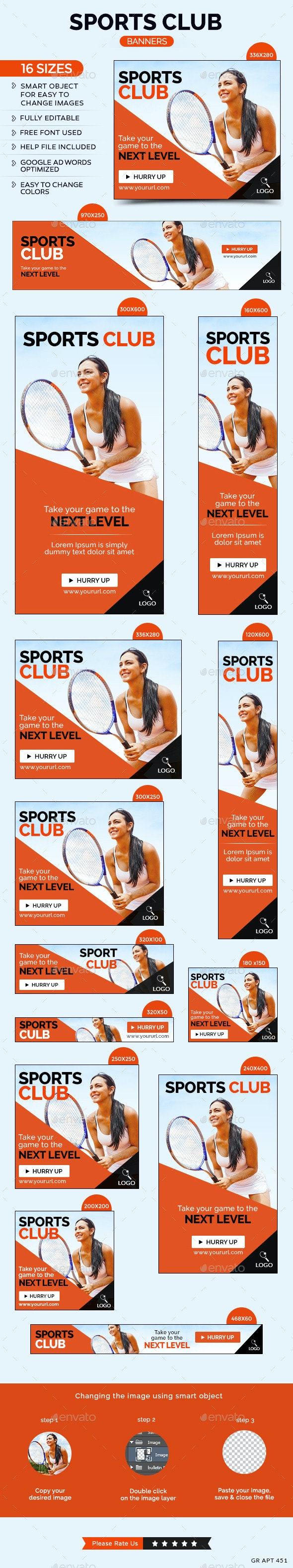 Sports Club Banners - Banners & Ads Web Elements