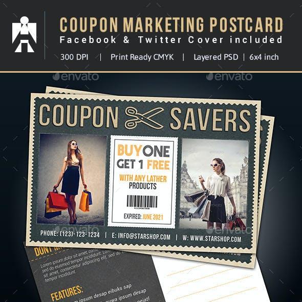 Coupon Postcard, Facebook & Twitter
