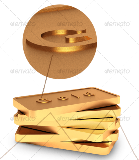 Gold biscuits - 3D Backgrounds