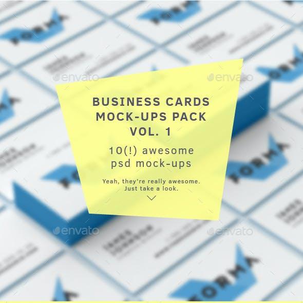 Business Cards Mock-Ups Pack Vol. 1