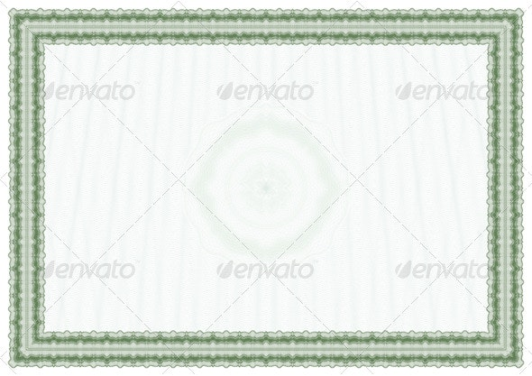Blank diploma or certificate with guilloches - Borders Decorative