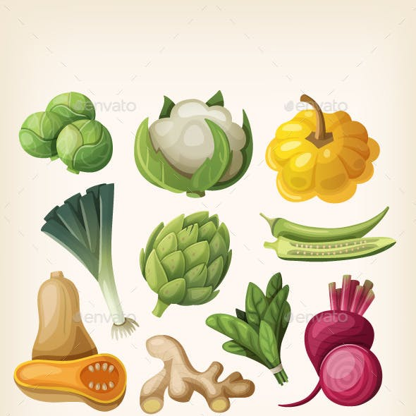 Set of Exotic Vegetables.