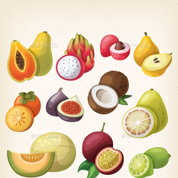 Set of Exotic Fruit.