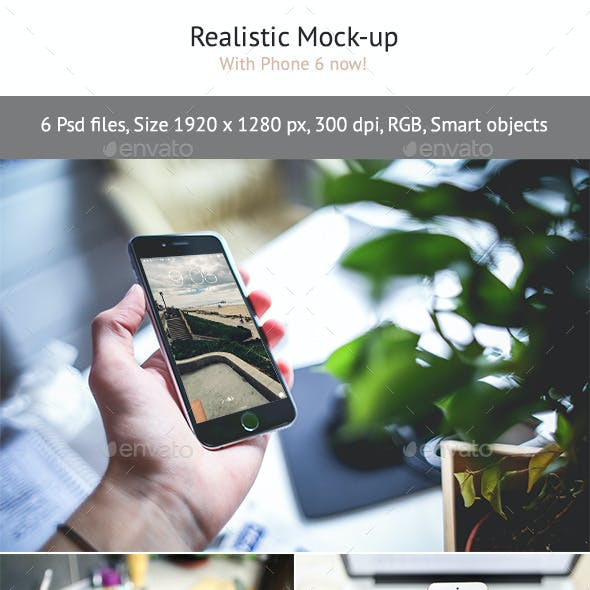 6 Realistic Phone 6 Mock-up