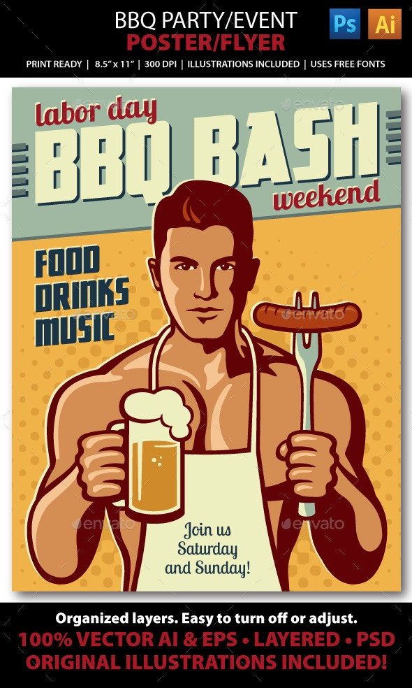 BBQ Party/ Event Poster or Flyer - Holidays Events