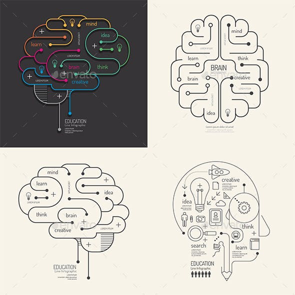 Flat Line Infographic Education Brain Concept