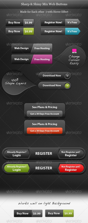 Sharp & Shiny Web2.0 Buttons - Web Elements