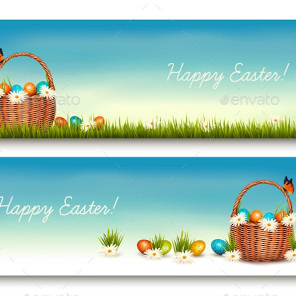 Two Happy Easter Banners