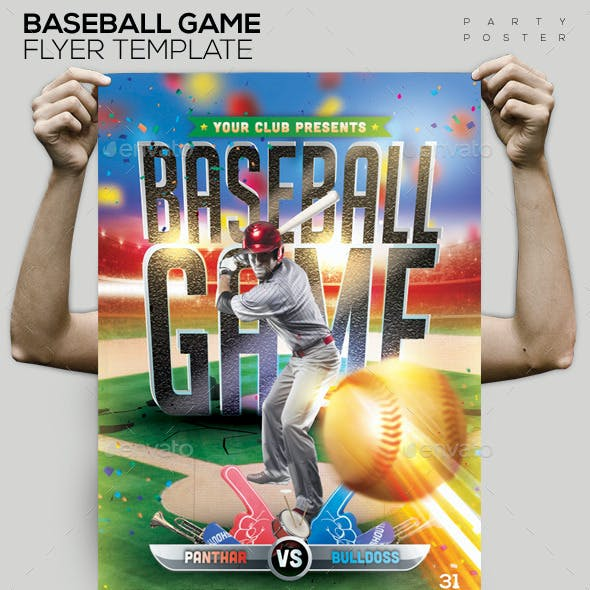 Baseball Game Flyer/ Poster Template PSD