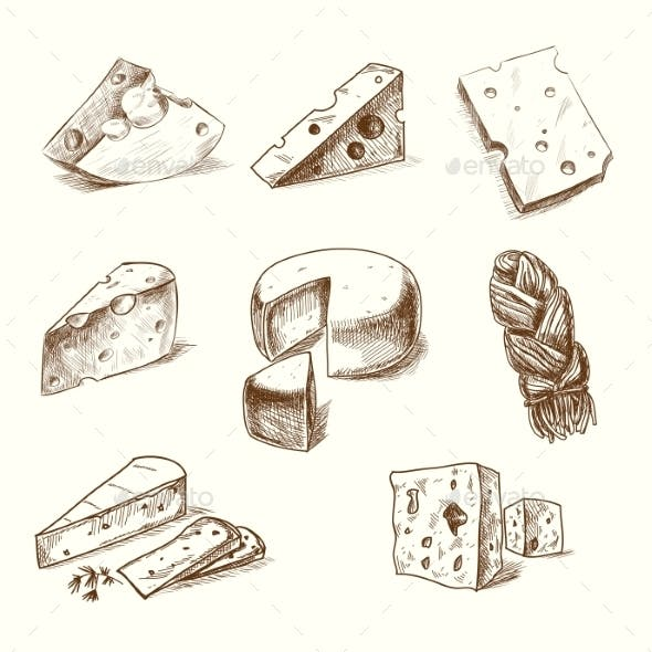 Hand Drawn Cheeses