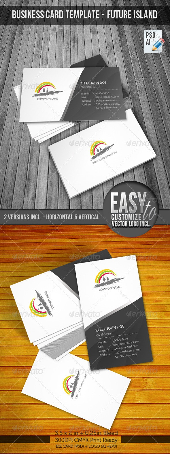 Corporate Business Card & Logo - Future Island - Corporate Business Cards