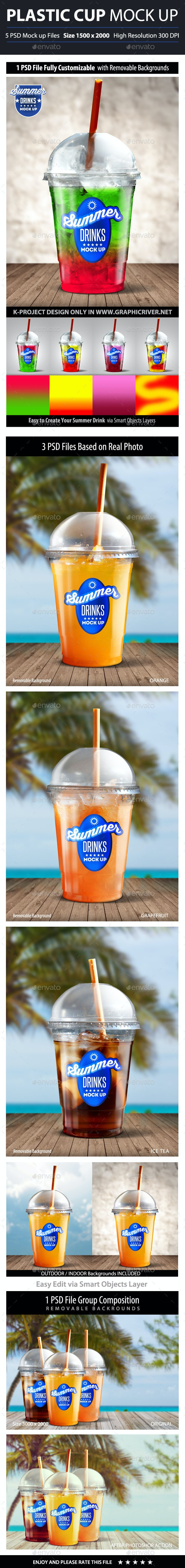 Summer Drinks Plastic Cup Mock Up - Product Mock-Ups Graphics
