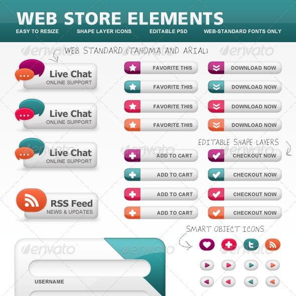 Ecommerce Web Store Elements, Icons and Buttons