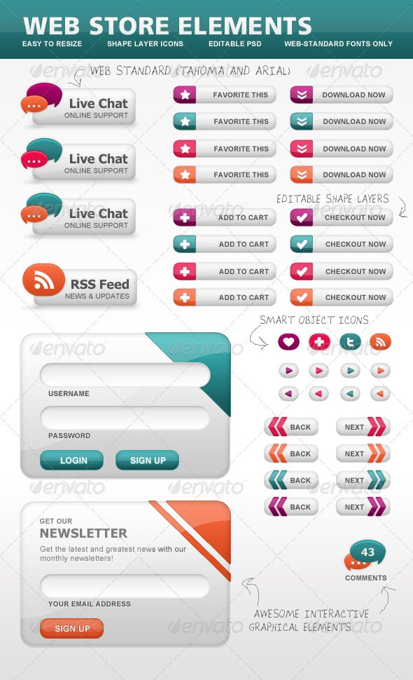 Ecommerce Web Store Elements, Icons and Buttons - User Interfaces Web Elements