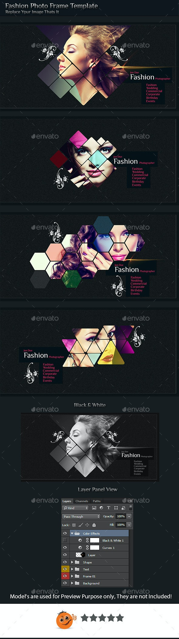 Fashion Photo Frame Template  - Photo Templates Graphics