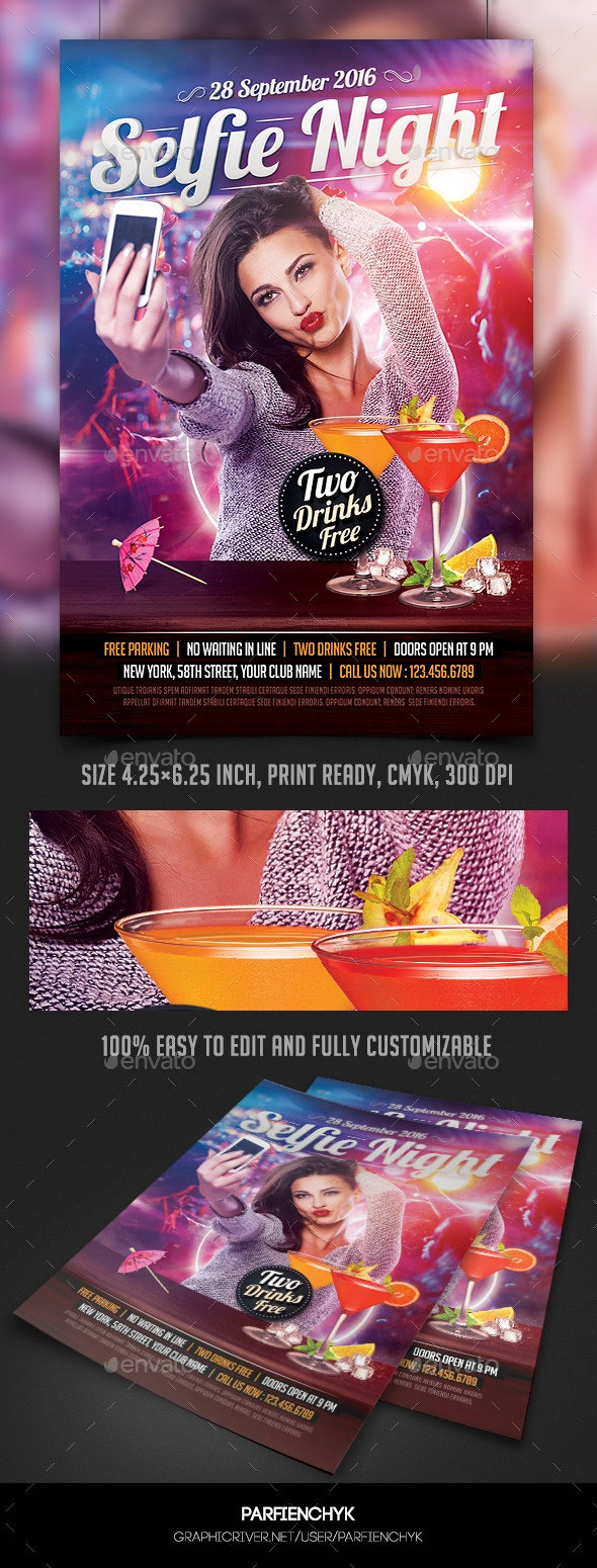 Selfie Night Party Flyer Template - Clubs & Parties Events