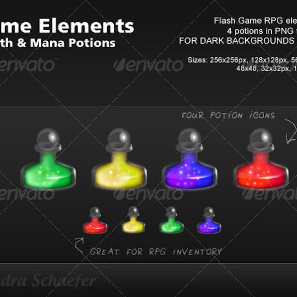 RPG / Flash Game Elements - Mana & Health Potions