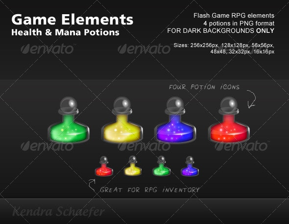 RPG / Flash Game Elements - Mana & Health Potions - Sprites Game Assets