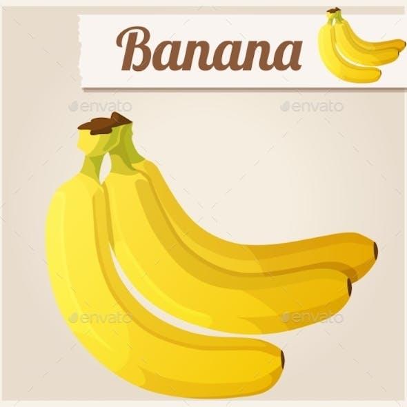 Banana.  Detailed Vector Icon