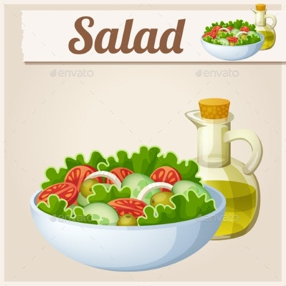 Fresh Salad with Olive Oil. Detailed Vector Icon.