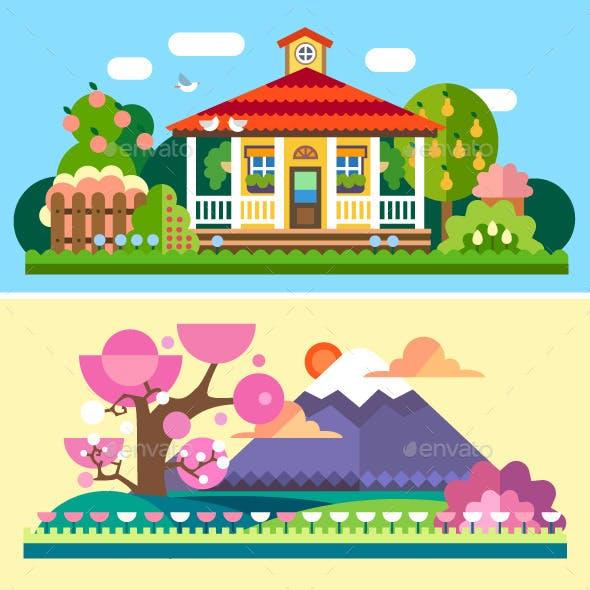 Flat Spring and Summer Landscapes