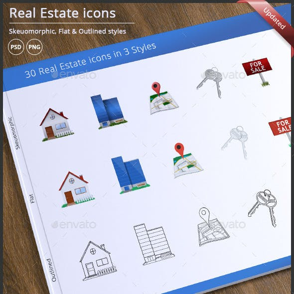 30 Real Estate Icons in 3 Styles