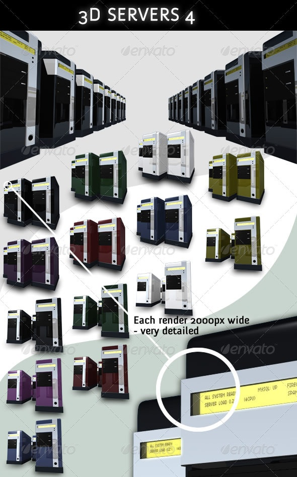 3D Servers - Pack 4 - 7 Colors - Technology 3D Renders