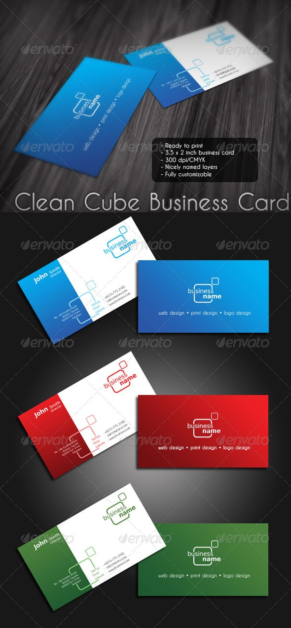 Clean Cube Business Card - Corporate Business Cards