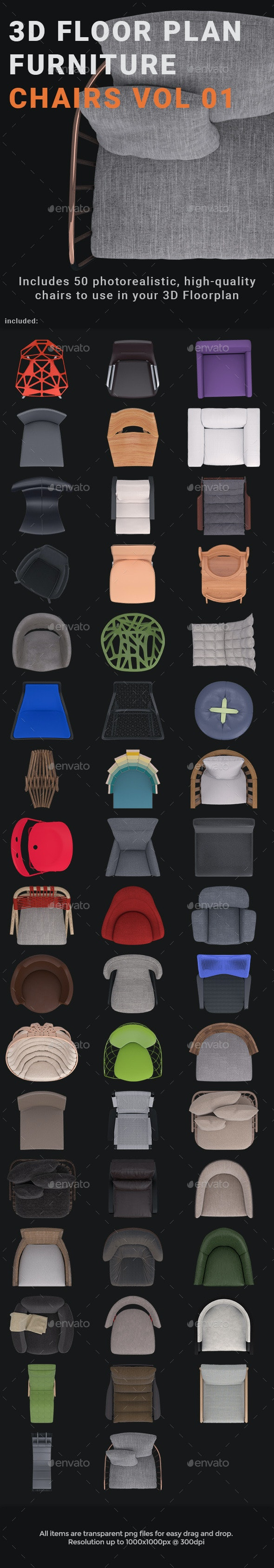 3D Floorplan Furniture Chairs Vol01 - Miscellaneous Graphics
