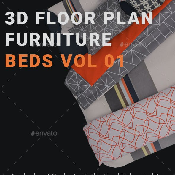 3D Floorplan Furniture Beds Vol01