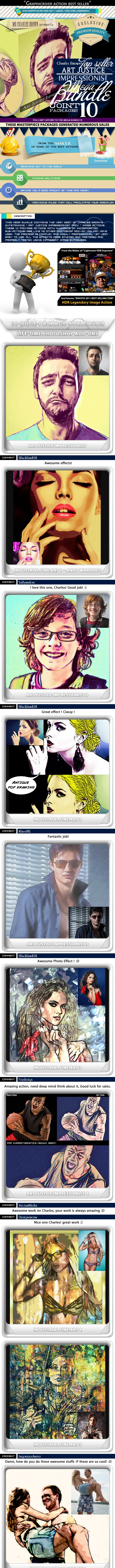 All Charles Brown's Art Justice Impressionist Bundle - Photo Effects Actions