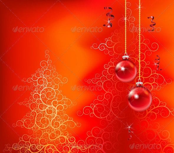 Red Abstract Christmas Background - Backgrounds Decorative